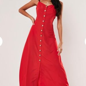 Missguided red cami horn button maxi dress